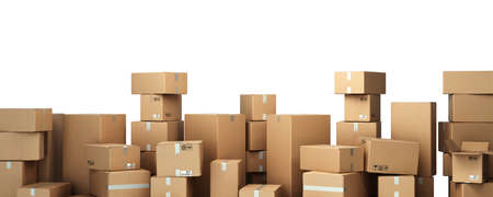 Cardboard boxes on pallet delivery and transportation logistics storage 3d render image on white