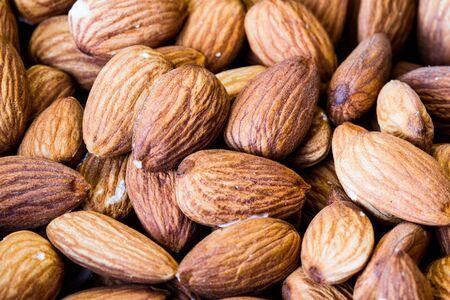 macro: a few almonds macro Stock Photo