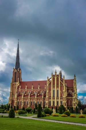 gothic revival: Holy Trinity Catholic Church in Gothic Revival style in Gervyaty, Grodno region, Belarus.