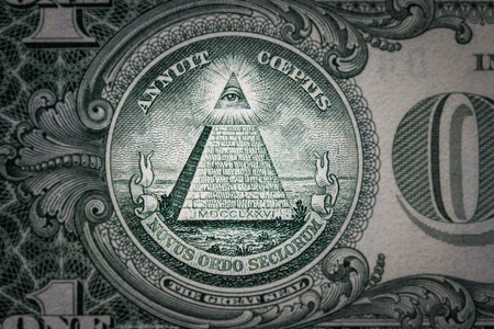 all-seeing eye on the one dollar. New world order. elite characters. 1 dollar. Stockfoto