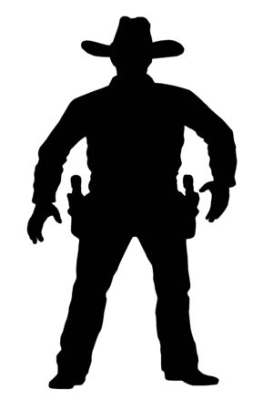 target shooting: Vector cowboy is in full growth. Target shooting. A man with a gun on a white background. Duel on the revolver.