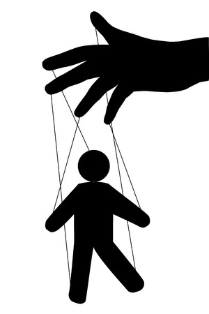 manipulated: Puppet man. Vector isolated. Globalization. Hidden people management. New world order. hand puppet Management