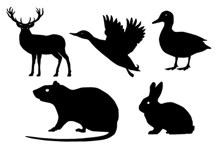 coward: wild animals vector set. Isolated silhouette, deer, duck, mouse, rabbit. White background. side view
