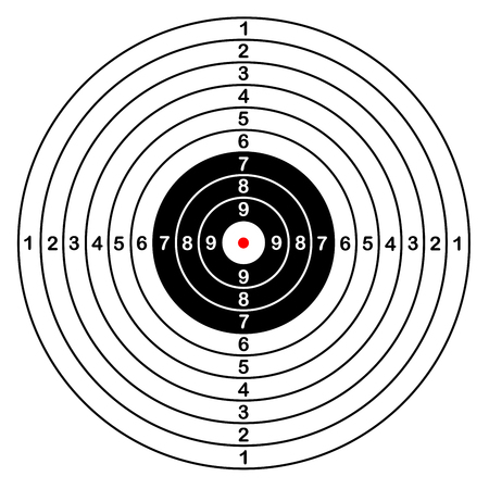 pneumatic: Blank template for sport target vector shooting competition. Clean target with numbers for set shooting range or pistol shooting. large isolated target