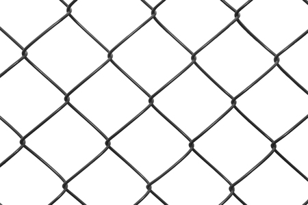 winter grilling: Metal black netting on white background Stock Photo