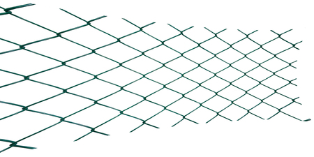 gray netting: Stretched and flattened metal netting on white background