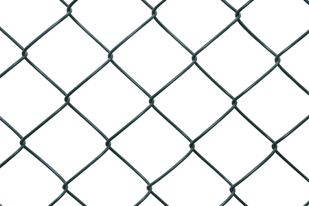 winter grilling: Metal green netting on white background Stock Photo