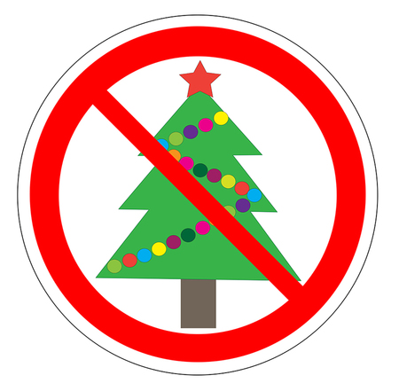 Illustration of a forbidden signal with a christmas tree. No Christmas tree vector