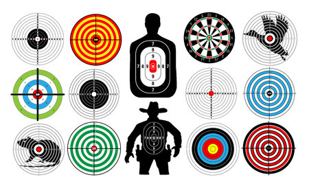 sniper training: Big set of targets isolated animals people cowboy man. Targets for shooting. Archery.  Darts board. vector