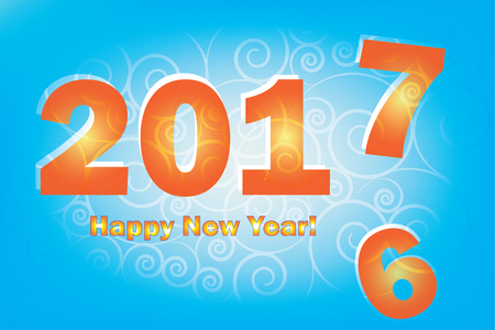 replace: New Year 2017 is coming. Happy New Year 2017 replace 2016 year. Blue background