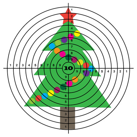 Target shooting on background of Christmas tree