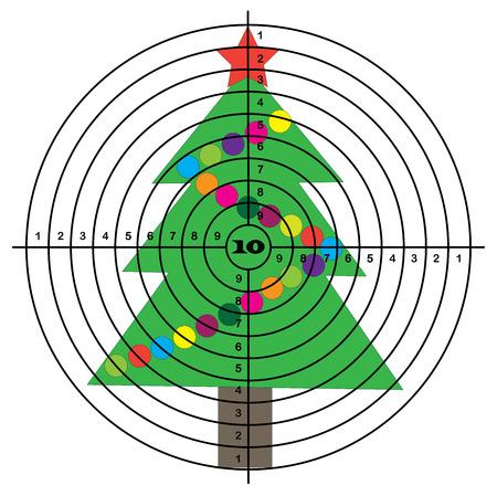 target shooting: Target shooting on background of Christmas tree