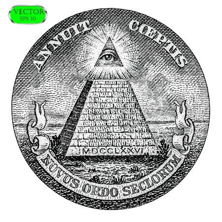 All Seeing eye of the new world order. Vector illustration Stock Illustratie