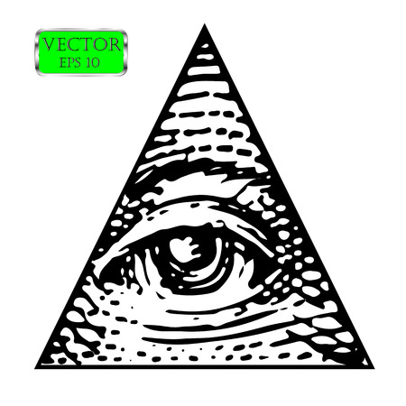 All Seeing eye of the new world order. Vector illustration Çizim