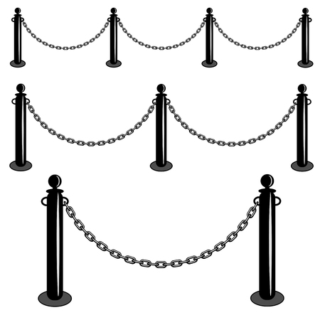 velvet rope barrier: Chain barrier stand. Iron fence barricade. Isolated set vector illustration.
