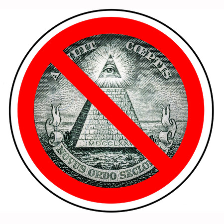Barring a world government. The end of the new world order. Prohibited Illuminati. Ban mason. One dollar pyramid isolated