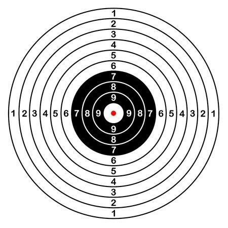 Leere Vorlage für Sport Zielvektor Schießwettbewerb. Saubere Ziel mit Zahlen für Satz Schießstand oder Pistolenschießen. große isolierten Ziel