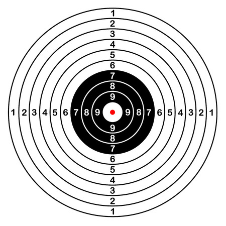 Blank template for sport target vector shooting competition. Clean target with numbers for set shooting range or pistol shooting. large isolated target