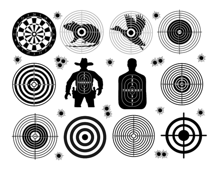 intent: Set of targets shoot gun aim animals people man isolated. Sport Practice Training. Sight, bullet holes. Targets for shooting. Darts board, archery. vector illustration. Illustration