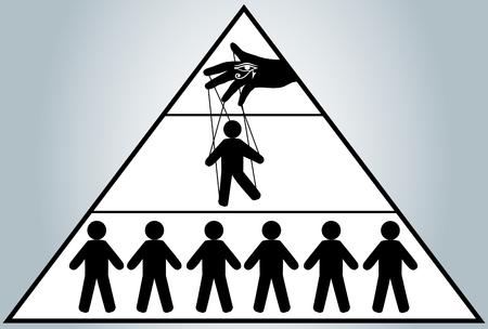 グローバリゼーション。人々 の管理を非表示。男人形。新しい世界秩序。