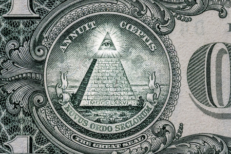 all-seeing eye on the one dollar. New world order. elite characters. 1 dollar. Foto de archivo
