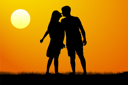 Silhouette kiss of young man and woman on sunset background, vector illustration Illustration