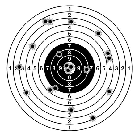 Shooting range target shot of bullet holes. vector illustration Illustration