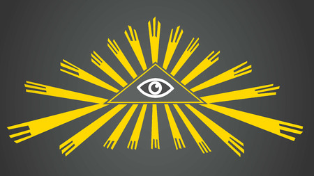 Eye of Providence. The all-seeing eye of golden rays. Sign, symbol. Radiant delta.