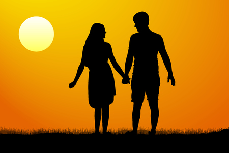 lass: Silhouettes of men and women standing and holding hands at sunset. Illustration