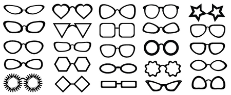 glasses model: Set of glasses isolated. 25 pieces.  Vector illustration on white background. Glasses model icons, man, women frames. Different shapes, frame, styles