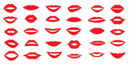 set of woman's lips. Different form of the lips. Different emotions. Vector illustration. Stock Illustratie