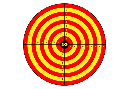 Target shooting, vector, target in yellow and orange color