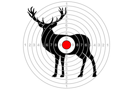target for shooting, in the center of the deer. Vector Illustration