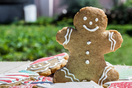 Homemade gingerbread cookie man