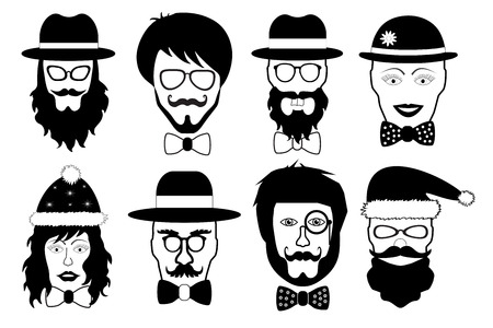 fake nose and glasses: set face fake person, hipster head silhouette isolated, vector illustration Illustration