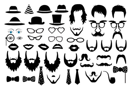 hair mask: hipster retro icon party set vector