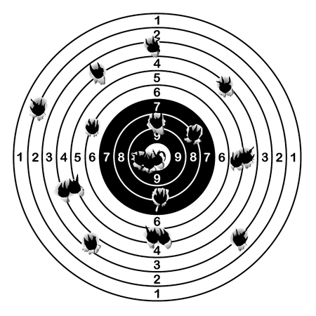 Shooting range target shot of bullet holes, vector illustration Illustration