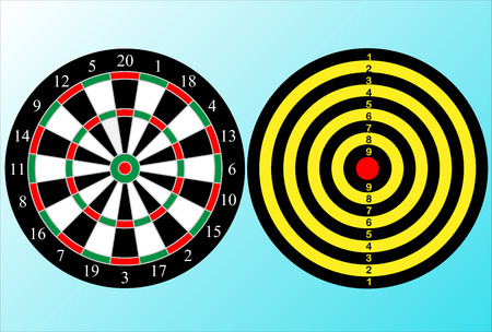 the playing field of dartboard with two sides Illustration