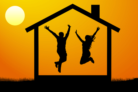 happy young couple, the family moved into their own new home at sunset vector illustration Illustration
