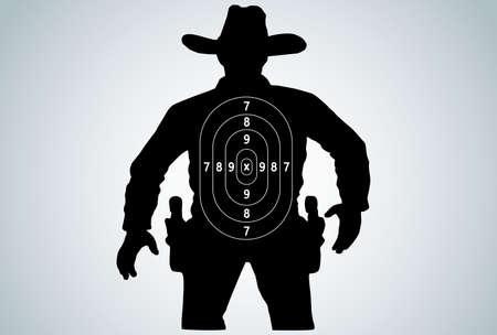 holster: Cowboy duel target vector Illustration