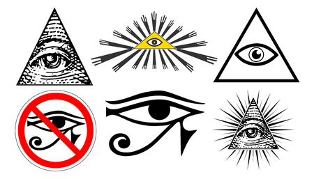 all seeing eye of providence, illuminati new world order, set vector Çizim