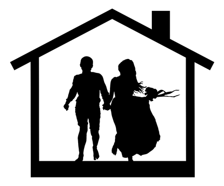 farmstead: Young couple in the house silhouette Illustration