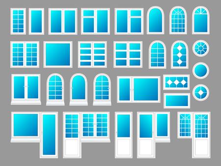 Plastic windows with doors, vector illustration set