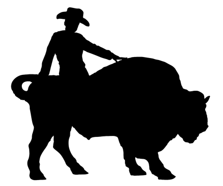 Rodeo man on a buffalo, bison, bull, silhouette