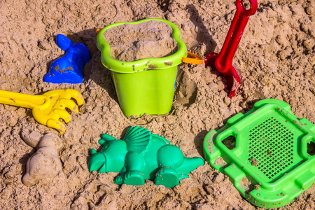 bolter: sandpit for children with toys Stock Photo