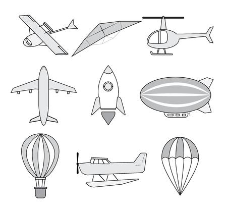 Conjunto De Conjuntos De Transporte Aéreo. Vector. Ilustraciones ...