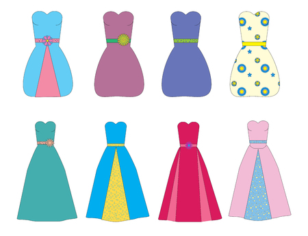 Collection of womens evening and cocktail dresses. Illustration