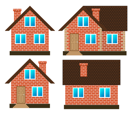House made of red bricks on different sides, set vector isolated