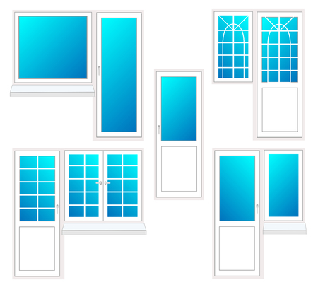 window with door, vector illustration isolated set Illustration