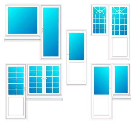 Venster met deur, vectorillustratie geïsoleerde set Stock Illustratie